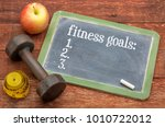 fitness goals list     slate... | Shutterstock . vector #1010722012