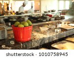 a box of mangoes in the chefs...   Shutterstock . vector #1010758945