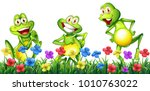 three happy frogs in flower... | Shutterstock .eps vector #1010763022