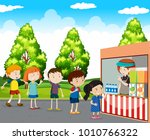 children buying drinks in park... | Shutterstock .eps vector #1010766322