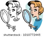 a woman peering through a... | Shutterstock .eps vector #1010772445