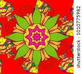 1950s 1960s motifs. silk scarf... | Shutterstock .eps vector #1010775982