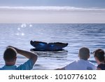 a hump back whales tail above... | Shutterstock . vector #1010776102