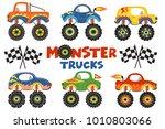 set of isolated monster trucks  ... | Shutterstock .eps vector #1010803066