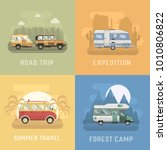 rv travel concept set. camping... | Shutterstock . vector #1010806822