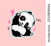 lovable panda drawing made in... | Shutterstock .eps vector #1010808466