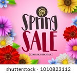 spring sale vector banner... | Shutterstock .eps vector #1010823112