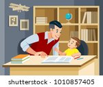 man helping young boy doing... | Shutterstock .eps vector #1010857405