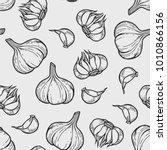 vector garlic seamless pattern... | Shutterstock .eps vector #1010866156