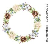 hand painted watercolor floral... | Shutterstock . vector #1010893732