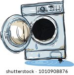 old broken washing machine in... | Shutterstock .eps vector #1010908876