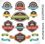 vintage labels and ribbons set. ... | Shutterstock .eps vector #101090932