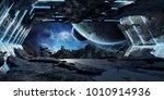 huge blueish asteroid spaceship ... | Shutterstock . vector #1010914936