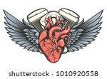motorcycle engine with wings... | Shutterstock .eps vector #1010920558