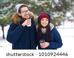 winter holidays  hot drinks and ... | Shutterstock . vector #1010924446