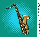 saxophone musical instrument.... | Shutterstock .eps vector #1010935846