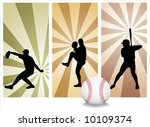 Vector Baseball Players. Easy change colors.  (Check out my portfolio for other silhouettes) - stock vector