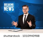television presenter in front... | Shutterstock . vector #1010940988