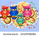 a family of colorful  bright ... | Shutterstock .eps vector #1010948086