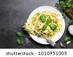pasta spaghetti with zucchini ... | Shutterstock . vector #1010951005