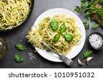 pasta spaghetti with zucchini ... | Shutterstock . vector #1010951032