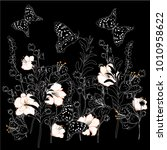 floral  with spring flowers.... | Shutterstock .eps vector #1010958622