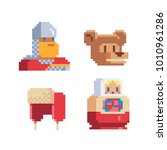 pixel art icons. 80s style.... | Shutterstock .eps vector #1010961286