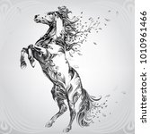 horse with a mane from flowers | Shutterstock .eps vector #1010961466