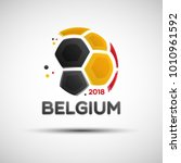 Football championship banner. Flag of Belgium. Vector illustration of abstract soccer ball with Belgian national flag colors for your design