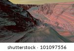 Large Mars canyon with mineral-rich sedimentary stratigraphy - stock photo