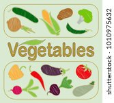 vegetable set. vector. corn ...   Shutterstock .eps vector #1010975632