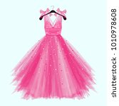 pink birthday  party dress with ... | Shutterstock .eps vector #1010978608