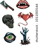 vector set of horror stickers... | Shutterstock .eps vector #1011003166