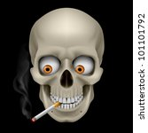 Human Skull  with eyes and cigarette. Illustration on black background - stock vector
