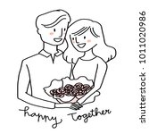 love theme with cute couple... | Shutterstock .eps vector #1011020986