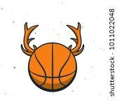 silhouette of basketball ball.... | Shutterstock .eps vector #1011022048