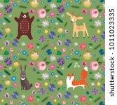 seamless pattern. forest... | Shutterstock .eps vector #1011023335