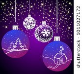 christmas background with balls ... | Shutterstock . vector #1011027172