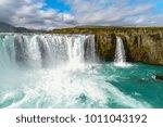 majestic godafoss waterfall ... | Shutterstock . vector #1011043192