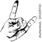 vector hand shoving heavy metal ... | Shutterstock .eps vector #101105722