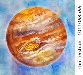 brown planet  watercolor space...   Shutterstock . vector #1011068566