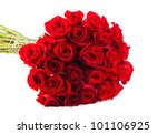 Stock photo bunch of red roses isolated on the white background 101106925