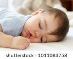 cute little baby sleeping on... | Shutterstock . vector #1011083758