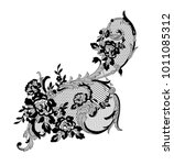 lace flowers decoration element | Shutterstock .eps vector #1011085312