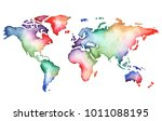 hand painted watercolor map... | Shutterstock . vector #1011088195