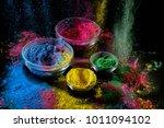 holi festival paint background. ...   Shutterstock . vector #1011094102