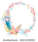 watercolor sea frame with... | Shutterstock . vector #1011102502