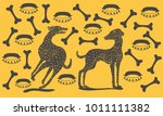 pattern with dogs collars and... | Shutterstock .eps vector #1011111382