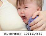 crying baby at the mother on... | Shutterstock . vector #1011114652