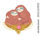 valentines day card with two...   Shutterstock .eps vector #1011115552